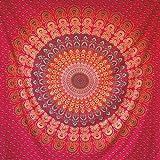 momomus Tapiz Mandala Hippie - 100% Algodón, Grande, Multiuso - Tapices de Pared Decorativos Ideales para la Decoración del Hogar, Habitación o Salón - Rojo A, 210x230 cm