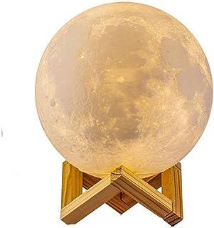 3D Lámpara Mágica de la Luna LED Lámpara de Noche Luna Llena Control Tactil Luces LED Regulables Carga Usb Lámpara De Mesa Regalo de los Niños Lámpara con Base Blanco/Blanco Cálido Iluminación (8cm)
