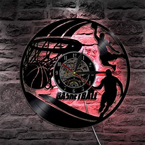 Unbekannt Uhr Wanduhren Basketball Dekorative Jungen-Raum-Vinyl Wanduhr LED Beleuchtung Uhren 3D dekorative Klassische CD Rekord Wand-Uhr-Home Decor Geschenk 12 Zoll