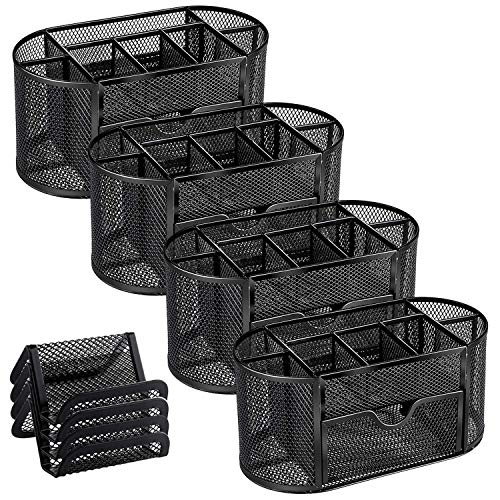 MaxGear 4 Pack Mesh Desk Organizers with Drawer, Office Desk Organizer Metal Pen Holder Pencil Organizer for Desktop Black Pencil Cup Storage Caddy, 9 Compartments, 8.75 x 4.5 x 4 inch