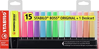 Stabilo Boss Original Highlighter Deskset of 15 Assorted Colours - Limited Edition