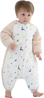 Happy Cherry Baby Unisex Schlafsack Winter Warmer Schlafanzug aus weicher Baumwolle Abnehmbare Ärmel Overalls Strampler Mädchen Unisex Overall