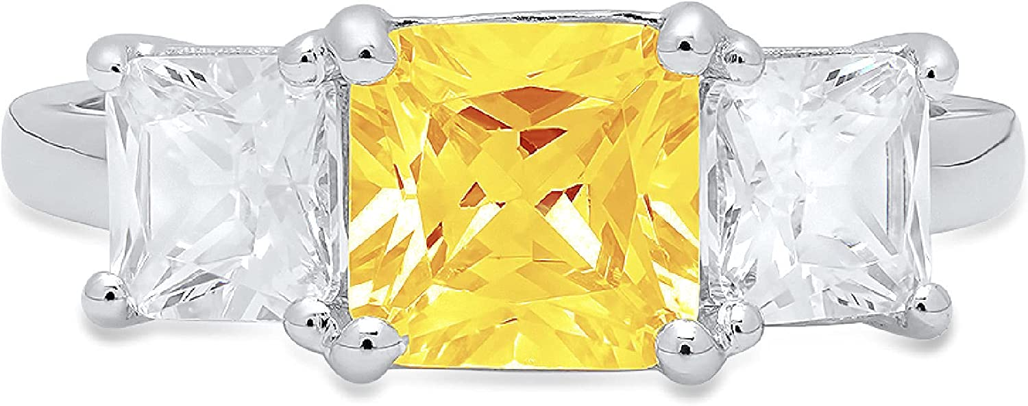 3.25ct Square Emerald Baguette cut 3 stone Solitaire Accent Genuine Flawless Natural Yellow Citrine Gemstone Engagement Promise Anniversary Bridal Wedding Ring Solid 18K White Gold