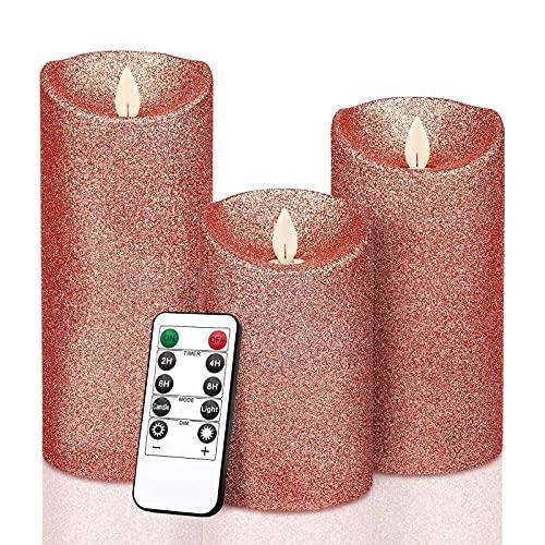 Nuova cipolla rosa rosa oro paraffina candela elettronica tre pezzi set simulazione swing lampeggiante fiamma LED candela