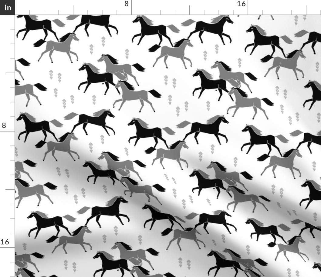 Spoonflower Fabric trust - Horses Super intense SALE Black Horse Running Western Whi Grey