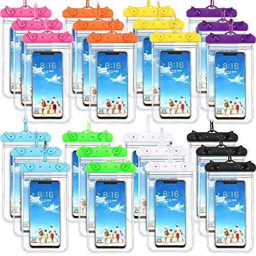 Frienda 24 Pieces Universal Waterproof Phone Pouch Underwater Clear Phone Case Cellphone Dry Bag Pouch with Lanyard Outdoor Beach Swimming Snorkeling for Smartphone up to 6.9 Inch