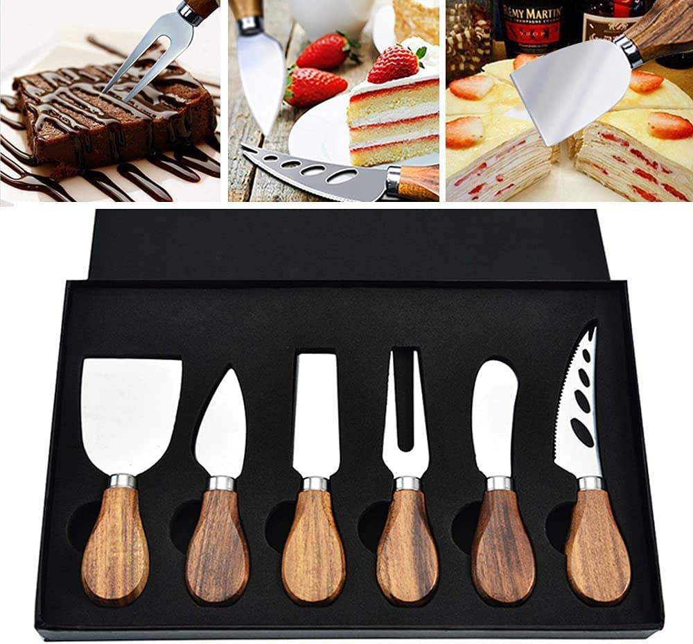 XWFKJ 6-Pieces Cheese Quantity limited Knife Set Handle Luxury goods Stainless with Wooden Ste