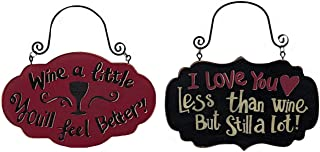 Wine Vino Decor Wall Art Signs Plaques Small Vineyard Kitchen Bar Home Business Decor (Set of 2)