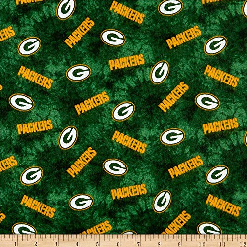 Traditions NFL Flannel Bay Packers Green, Fabric by the Yard