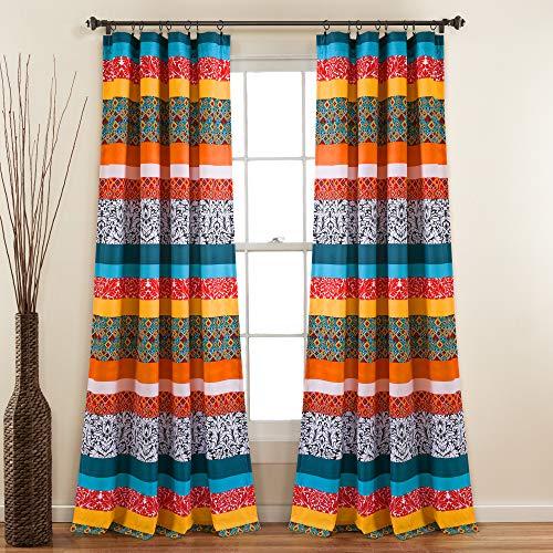 "Lush Decor Turquoise and Tangerine Boho Stripe Window Curtain Bohemian Design Panel Pair, 52"" Wide x 95"" Long"