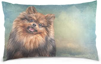 Mydaily German Pomeranian Dog Vintage Throw Pillow Case Cotton Velvet Rectangular Cushion Cover 20x26 inch