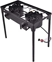 Cypress Shop Double Gas Stoves Burner BBQ Grill Propane Gas Burners 1500BTU Cooking Camping RV Trip Cooker Outdoor Barbeque Grills Barbecue Picnic Standard Stoves with Regulators and Hose