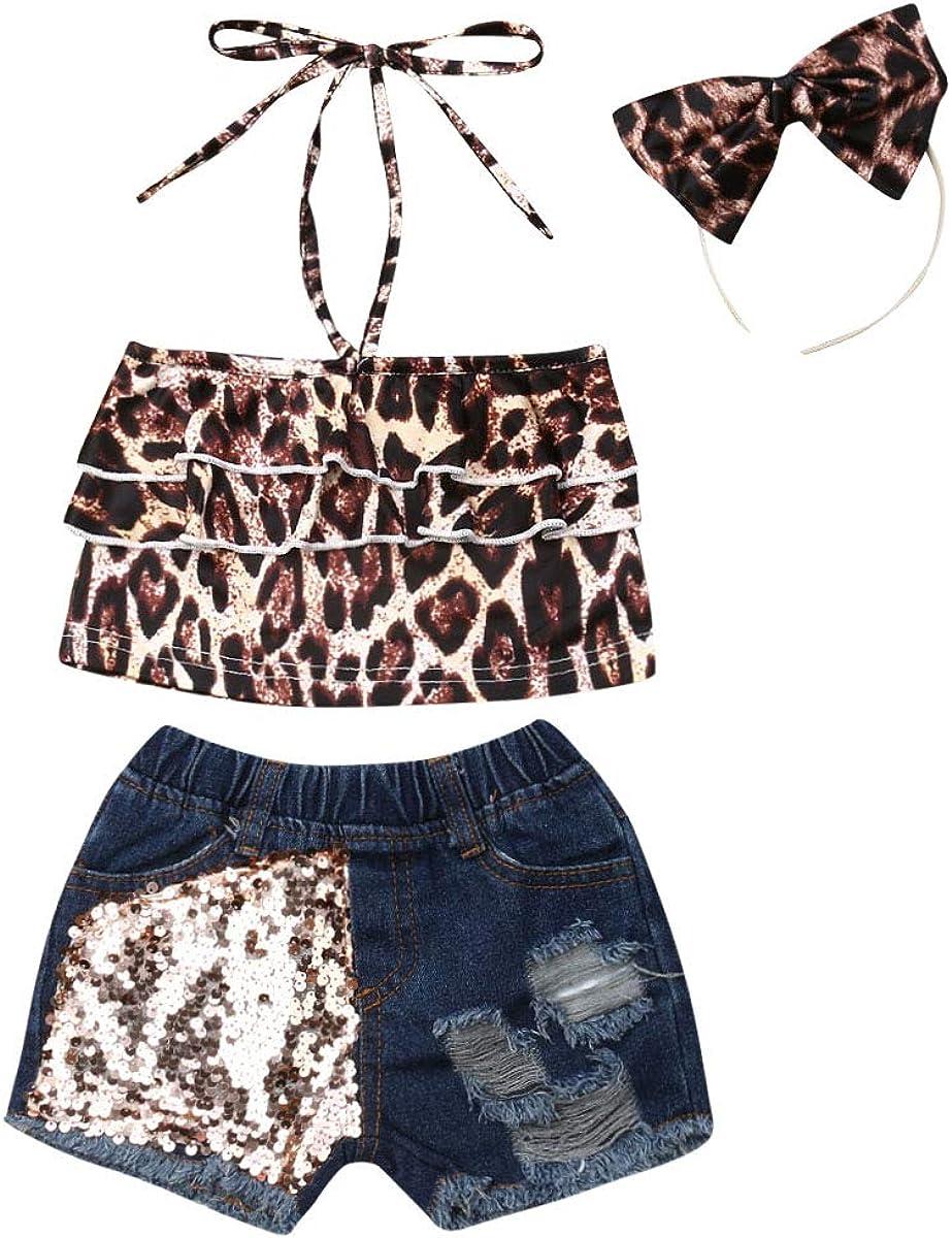 Toddler Girl Clothes Ruffle Leopard Halter Crop Top Denim Shorts