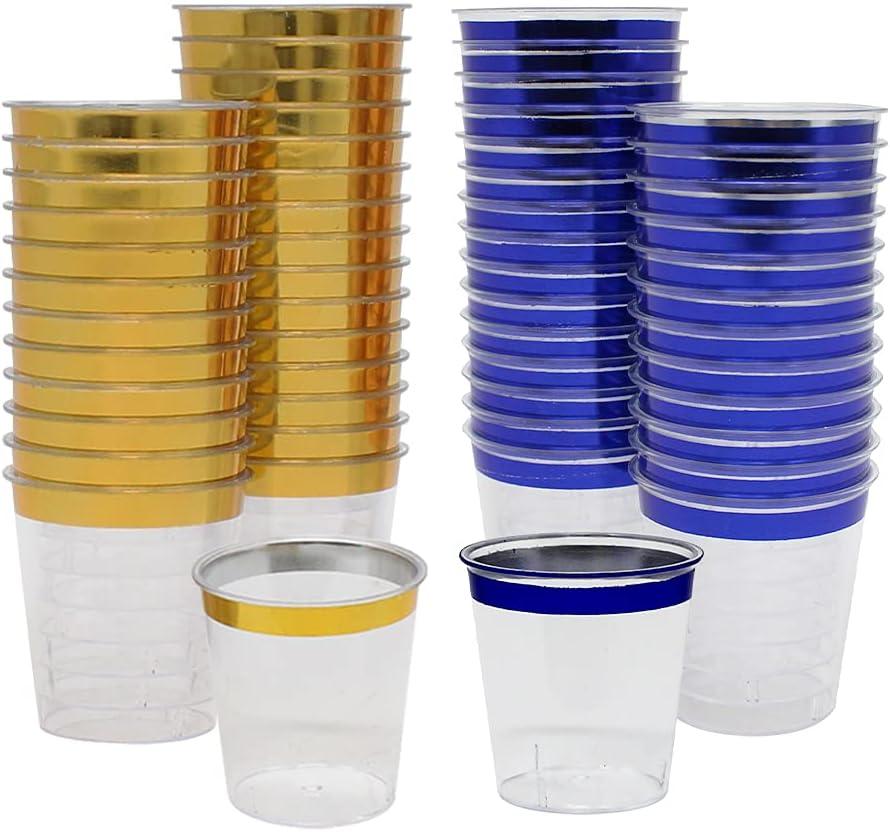 Just Artifacts 1oz Plastic Shot 120pcs Glasses Gold Max Max 84% OFF 75% OFF Blue