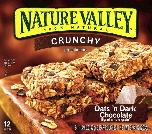 Nature Valley, Crunchy Oats'n Dark Chocolate Granola Bars, 8.94oz Box (Pack of 4)