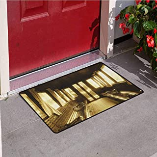 RelaxBear Antique Front Door mat Carpet Old Vintage Train Salon Inside Historical Transport Windows with Curtains Arch Shape Machine Washable Door mat W19.7 x L31.5 Inch Sepia