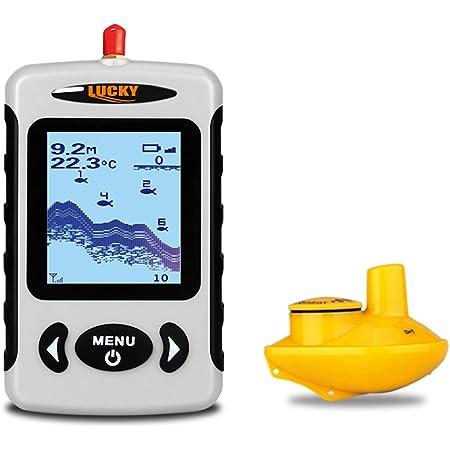 LUCKY Buscador de Profundidad inalámbrico portátil, Sensor de Sonar de Pesca de transductor con Mayor Distancia aérea, Alarma Fishfinder con Pantalla LCD