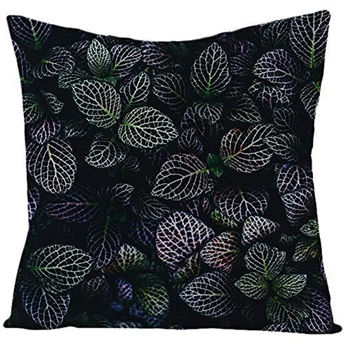 KnBoB Funda de Almohada Lino Hoja Negro Verde 45 x 45 cm Estilo 24