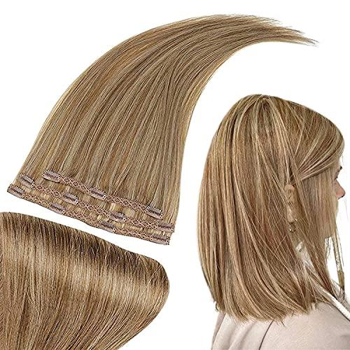 RUNATURE Extension a Clip Cheveux Naturel 50g Clip Blonde Cheveux 25cm 10 Pouces Couleur 10P16 Brun Doré Mélangé avec Blond Doré 3 pièces Clip Cheveux Naturel Blonde