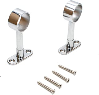 Smartsails Rotary Retractable Wardrobe Bracket, 25 mm Diameter, Ceiling Mounted Track Bar Support Socket 2 Pieces (Silver)