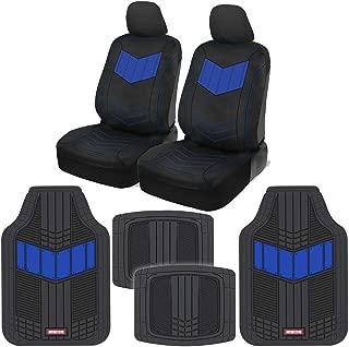 Motor Trend C304 Blue ComfortPlush PU Leather Sideless Seat Covers (Front 2pc) & Heavy-Duty Rubber Floor Set (4pc Mat Combo) for Car Auto (Sedan Truck SUV Minivan)