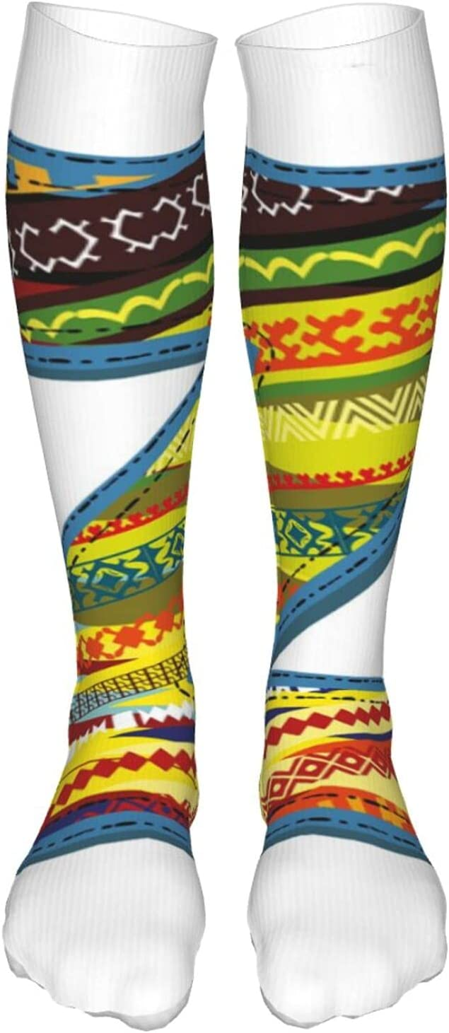 Compression High Socks,Z Letter Celebration First Name Of Birthday Girls Boys With Ethnic Ornament Forms,Socks Women and Men-Best for Running,Athletic,Hiking,Travel,Flight
