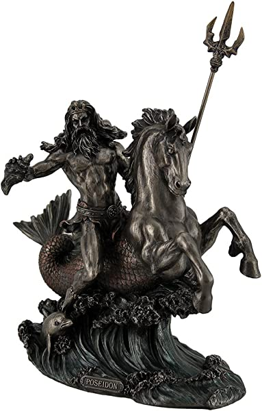Resin Statues Poseidon Greek God Of The Sea Holding Trident On Hippocampus Bronzed Statue 8 5 X 8 X 4 5 Inches Bronze