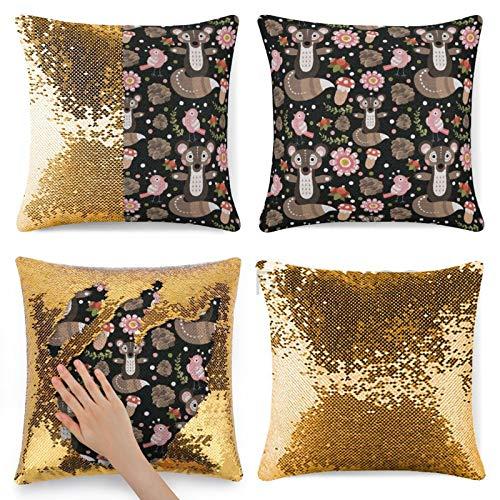 Dom576son Funda de almohada con lentejuelas, diseño de animales, colores pastel con criaturas del bosque y flora, diseño de sirena con lentejuelas, cojín mágico reversible con lentejuelas