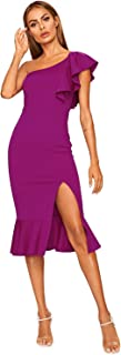 Women's Ruffle One Shoulder Split Midi Party Bodycon Dress