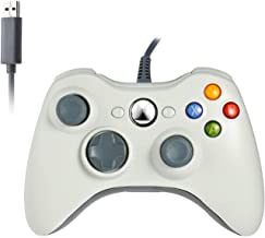 Reiso Xbox 360 Controller, 7.2 ft USB Wired Controller Gamepad Compatible with Microsoft Xbox 360 & Slim 360 PC Windows 7 (White)