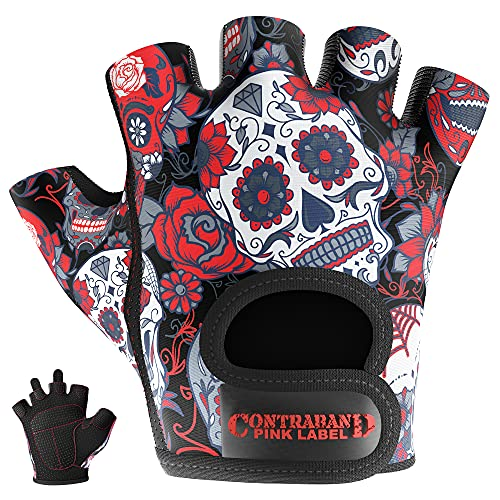 Contraband Pink Label 5237 Designer Series Workout Gloves for Women   Sugar Skull Print Weight Lifting Gloves for Women w/ Grip-Lock Padding   Gym Gloves for Women w/ Medium Padding (Red, Medium)