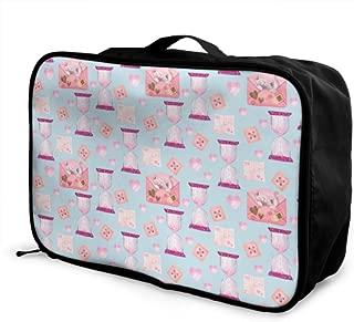 Custom Lightweight Duffel Bag Lightweight Fashion Creative Hourglass Ornaments Duffle Bag Luggage Foldable Portable Storage Luggage Bag With Trolley Sleeve