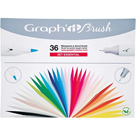 GRAPH'IT Brush Set de 36 Marqueurs double pointe - Essential Colors