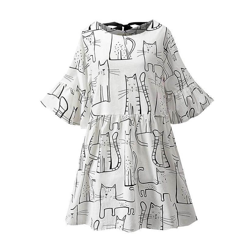 Beihxwe Women Summer Short Sleeve Babydoll Dress Casual Cat Print Linen Swing Party Dress