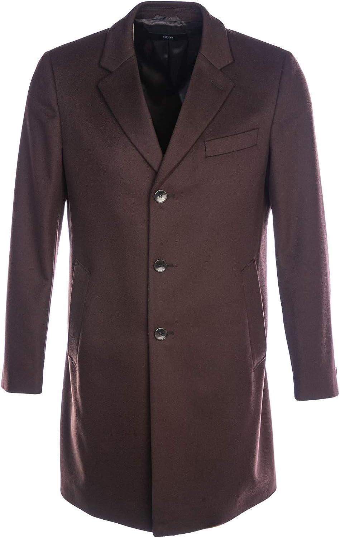 BOSS Nye2 Overcoat in Chocolate Brown