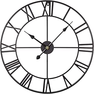 Goshfun Vintage Wall Clock, 3D Roman Numerals Silent Wall Clock Large Metal Decorative Clock for Living Room Kitchen Bedroom, 16-Inch, Black