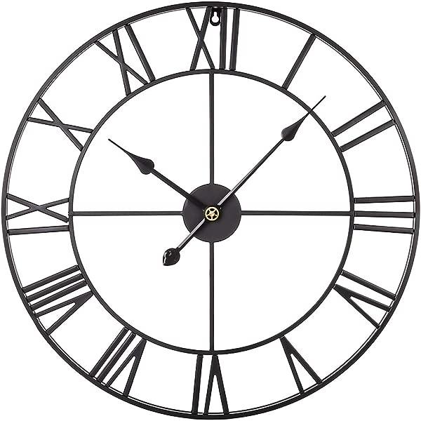 Goshfun 复古挂钟 3D 罗马数字静音挂钟大金属装饰时钟客厅厨房卧室月英寸黑色