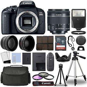 Canon 800D / Rebel T7i DSLR + 18-55mm is STM 3 Lens + 16GB Top Value Bundle - 2X Telephoto Lens + Wide Angle Lens + 3 Piece Filter Kit + Tripod + Lens Hood + Flash + More! - International Version