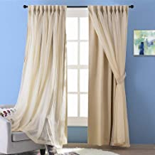 NICETOWN Double Layers Light Blocking Rod Pocket Mix & Match Elegance Biscotti Beige Crushed Voile and Blackout Curtain/Drape/Drapery with 2 Tie-Backs, Cortinas para Sala, 1 Pack
