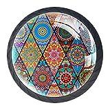 Tiradores para muebles niños Patrón de diamante vintage Perilla del cajón cristal Perillas del gabinete Creativo Manija del cajón 4 piezas Para Habitación Infantil 3.5×2.8CM