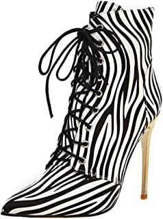 RizaBina Women Sexy Pointed Toe Stiletto Boots Lace up