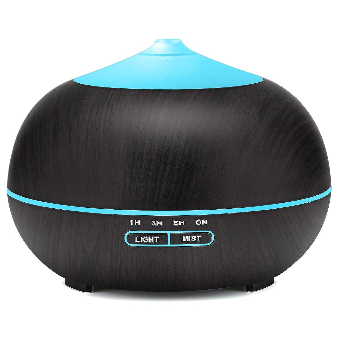 どこでも色デコードするTenswall アロマディフューザー 卓上加湿器人気 超音波式 アロマ加湿器ランキング 木目調 7色LEDライト変換 ムードランプ 空焚き防止 超静音 時間設定 部屋 会社 ヨガなど各場所用 400ml 黒茶色