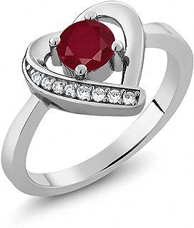 0.64 克拉 圆形 红色 红宝石 搭配 白色 锆石 925银