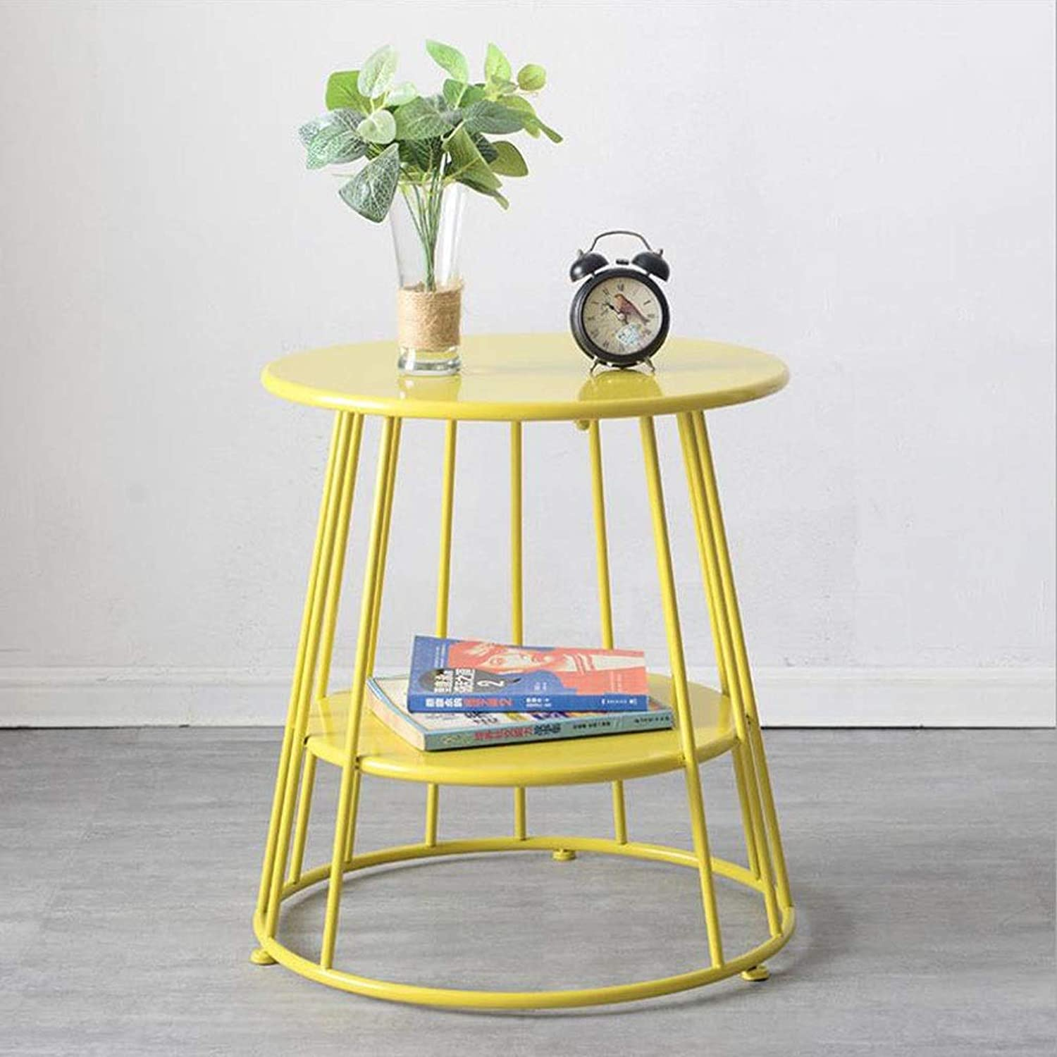 End Table, Iron Balcony Small Coffee Table Sofa Side Living Room Small Round Double Layer Multi-Function (color   Yellow, Size   55CM)