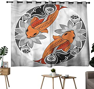 Alexandear Woven Darkening Curtains Grommet Curtain for Kitchen Window Koi Fish,Duality Ying Yang Form Curtains/Panels/Drapes W72 x L72