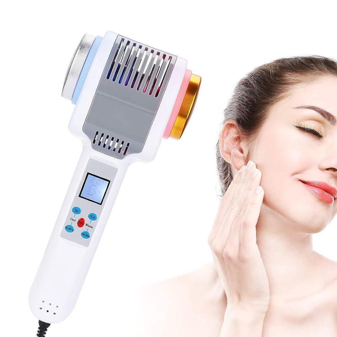 偏見クマノミメタリック光子療法機ホット&コールドハンマーアイスファイアダブルヘッド振動マッサージ美容機器削除しわ明るい顔の引き締め美容若返りツール