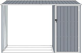 Ksodgun Abri à Bois de Jardin Hangar de Stockage d'Outils Abri de Rangement Remise en Rondins Cabane Extérieur Gris 245x98...