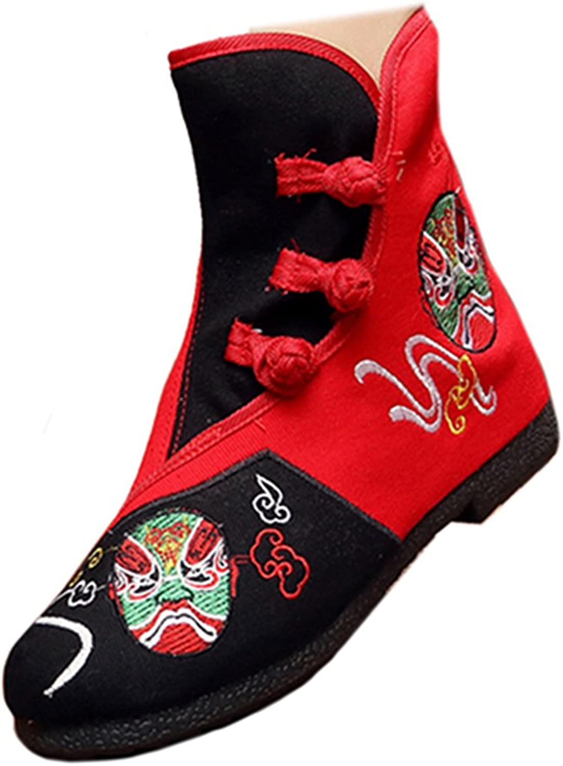 Shenghuajie Vintage Beijing Cloth shoes Embroidered Boots 12-08 Black + red