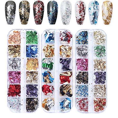 Kalolary 36 Farbe Nagel Pailletten Glitter, Nail Art Strassstein glitzer für gesicht körper glitzer, Shiny Gemischt Runde Dünne 3D Nail art Aufkleber, DIY Dekoration