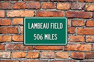 Personalized Steel Highway Distance Sign To Lambeau Field Home of the Green Bay Packers Sign Customized Text Metal Steel Sign Great Gift